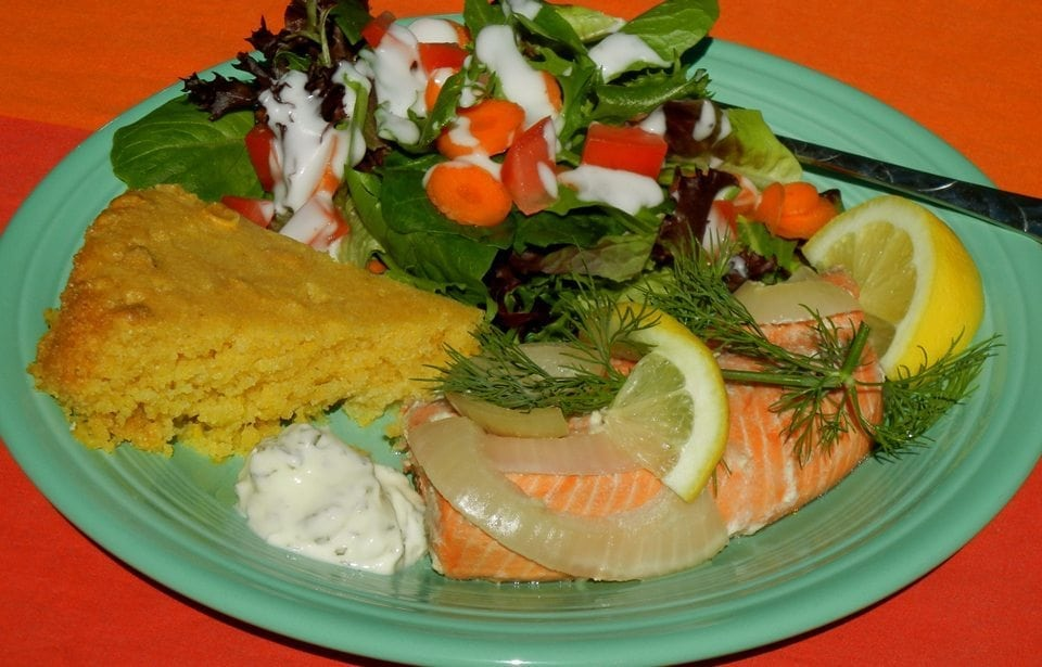 POACHED SALMON STEAKS