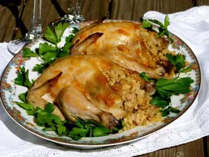 Apricot Cornish Hens with Fruited Cornbread Stuffing
