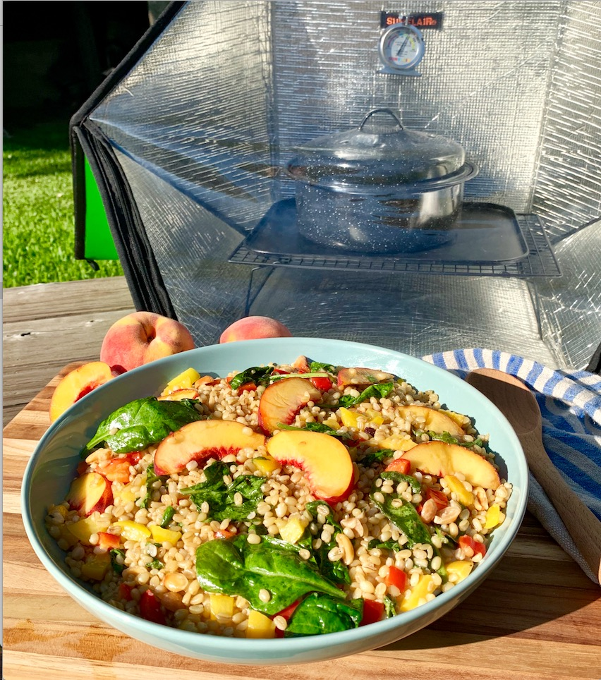 Wild Wheat Berry, Peach & Spinach Salad